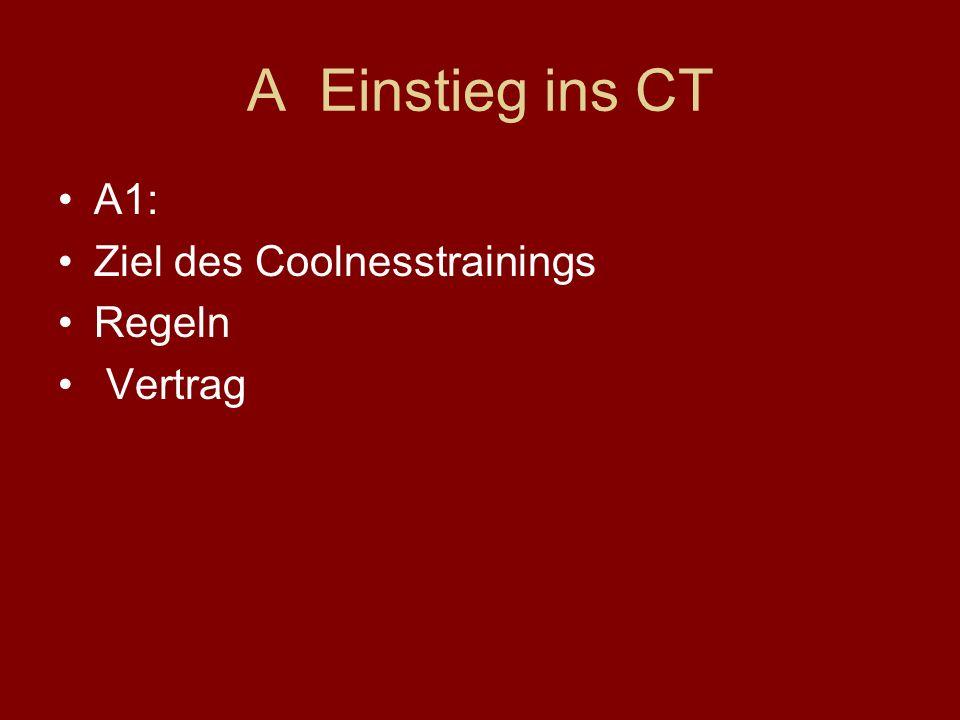 A Einstieg ins CT A1: Ziel des Coolnesstrainings Regeln Vertrag