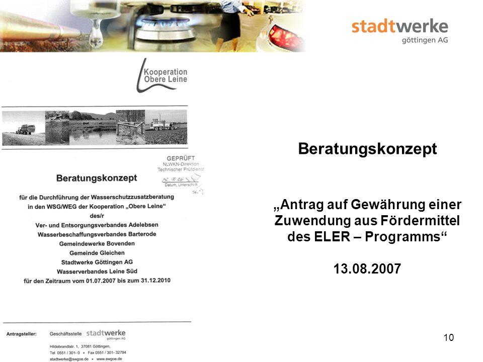 """Beratungskonzept """"Antrag auf Gewährung einer Zuwendung aus Fördermittel des ELER – Programms 13.08.2007"""