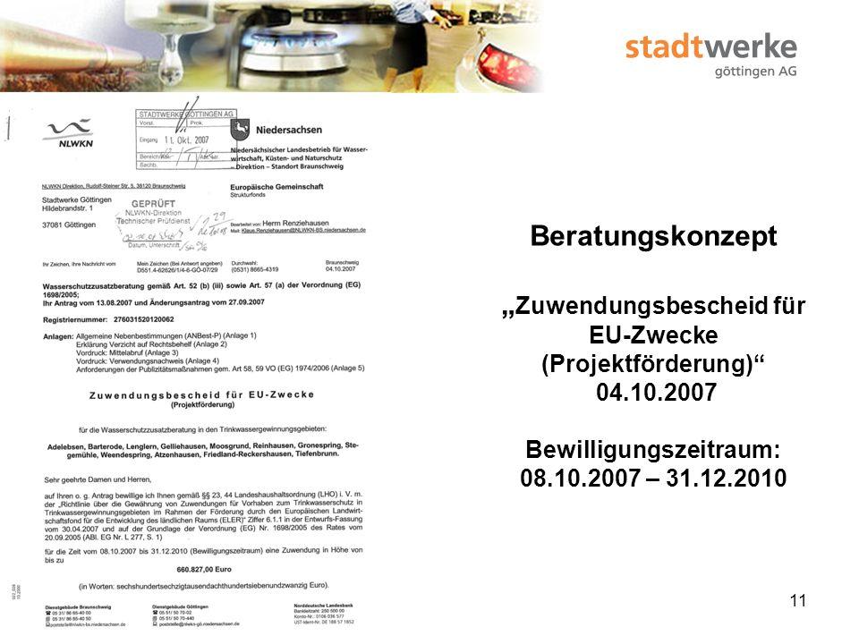 """Beratungskonzept """"Zuwendungsbescheid für EU-Zwecke (Projektförderung) 04.10.2007 Bewilligungszeitraum: 08.10.2007 – 31.12.2010"""
