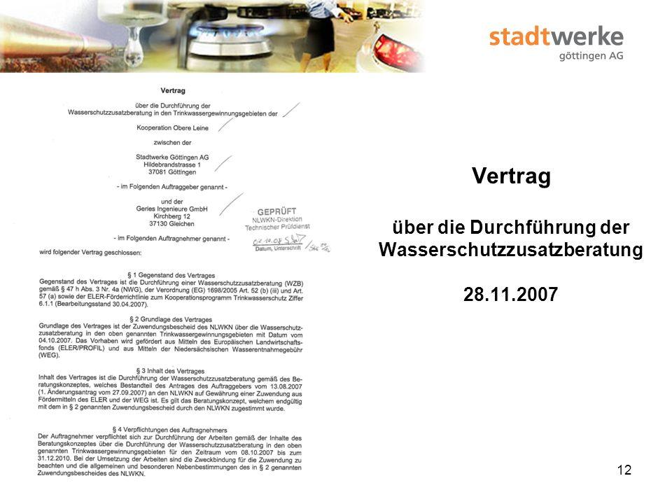 Vertrag über die Durchführung der Wasserschutzzusatzberatung 28. 11