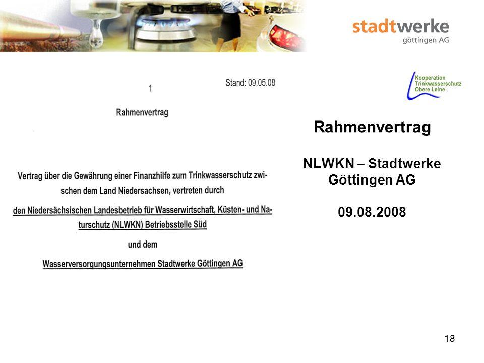 Rahmenvertrag NLWKN – Stadtwerke Göttingen AG 09.08.2008
