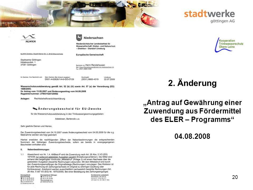 """2. Änderung """"Antrag auf Gewährung einer Zuwendung aus Fördermittel des ELER – Programms 04.08.2008"""