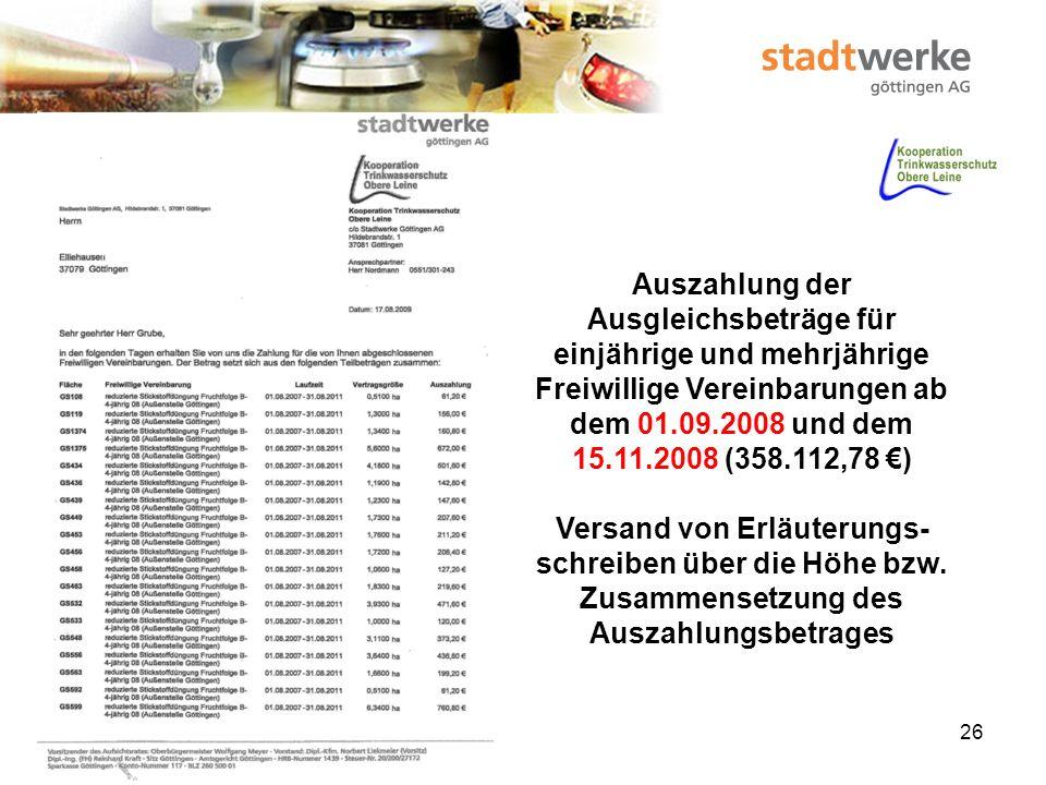 Auszahlung der Ausgleichsbeträge für einjährige und mehrjährige Freiwillige Vereinbarungen ab dem 01.09.2008 und dem 15.11.2008 (358.112,78 €)