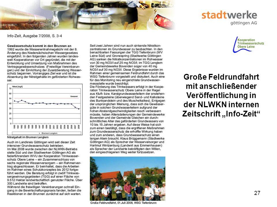 """Große Feldrundfahrt mit anschließender Veröffentlichung in der NLWKN internen Zeitschrift """"Info-Zeit"""