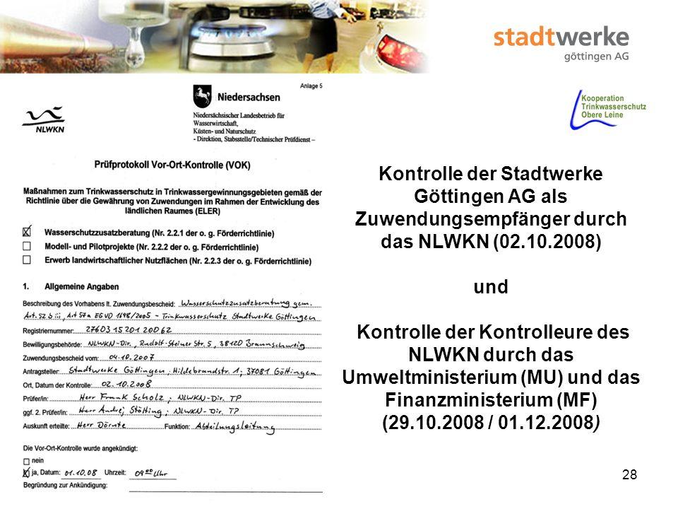 Kontrolle der Stadtwerke Göttingen AG als Zuwendungsempfänger durch das NLWKN (02.10.2008)