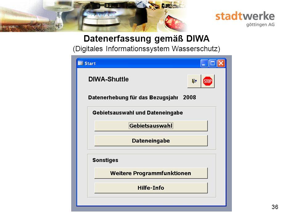 Datenerfassung gemäß DIWA