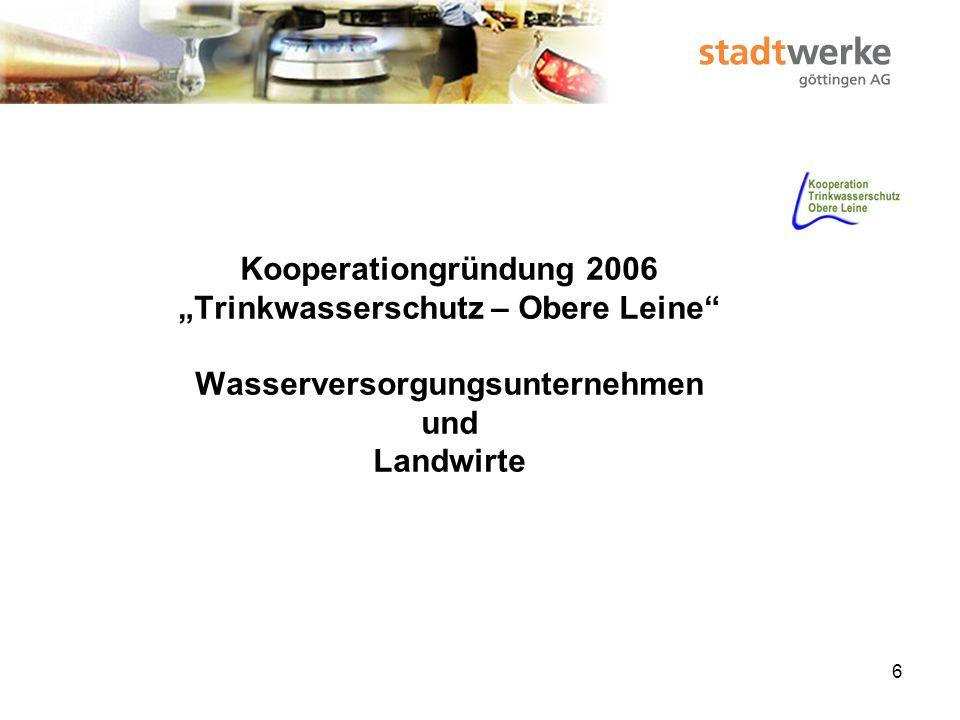 """Kooperationgründung 2006 """"Trinkwasserschutz – Obere Leine Wasserversorgungsunternehmen und Landwirte"""