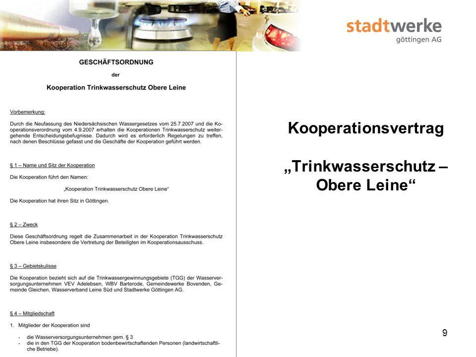 """Kooperationsvertrag """"Trinkwasserschutz – Obere Leine"""