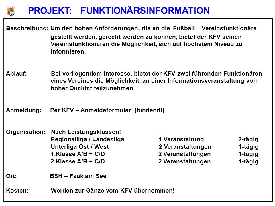 PROJEKT: FUNKTIONÄRSINFORMATION
