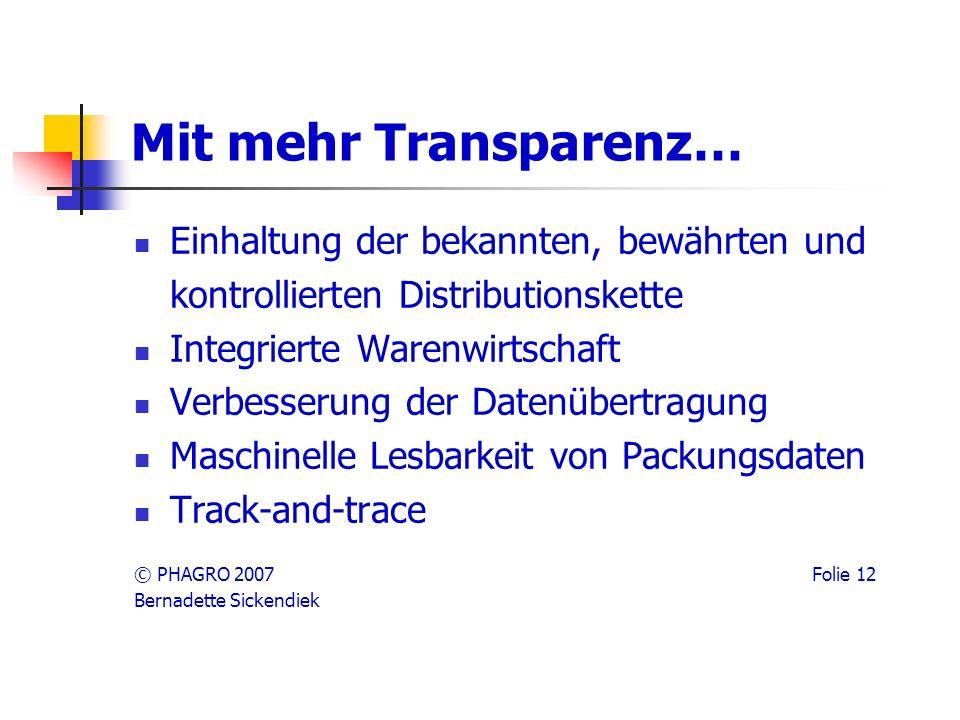 Mit mehr Transparenz… Einhaltung der bekannten, bewährten und