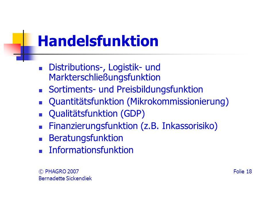 Handelsfunktion Distributions-, Logistik- und Markterschließungsfunktion. Sortiments- und Preisbildungsfunktion.