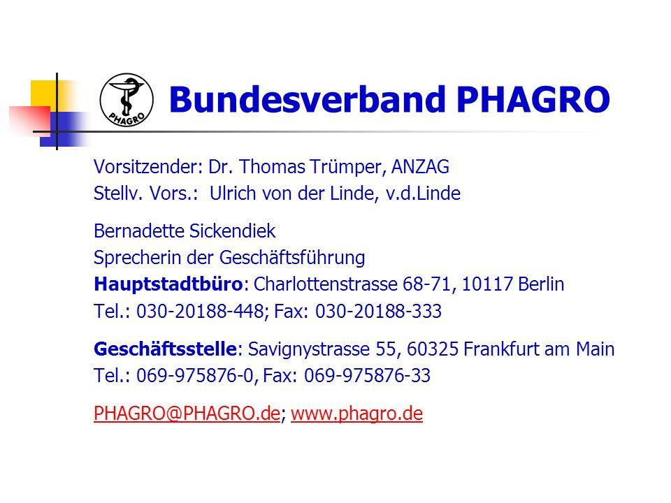 Bundesverband PHAGRO Vorsitzender: Dr. Thomas Trümper, ANZAG