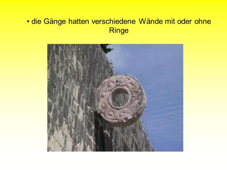 die Gänge hatten verschiedene Wände mit oder ohne Ringe