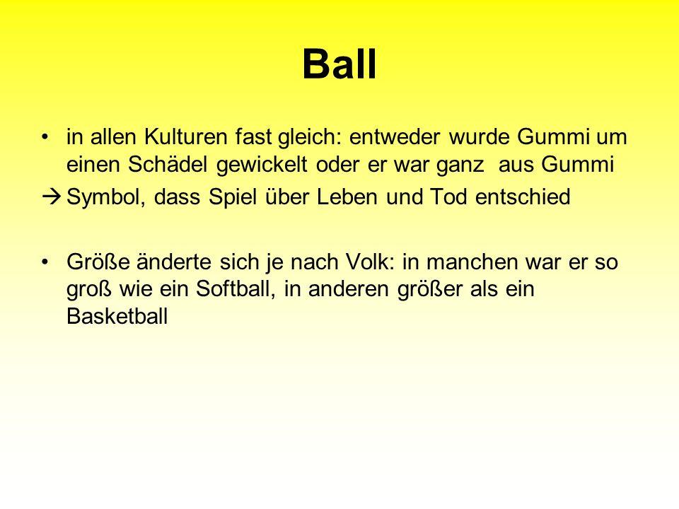 Ball in allen Kulturen fast gleich: entweder wurde Gummi um einen Schädel gewickelt oder er war ganz aus Gummi.