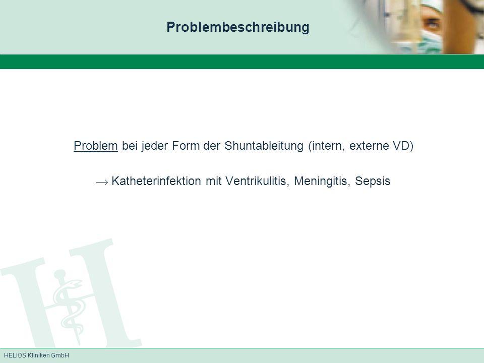 Problembeschreibung Problem bei jeder Form der Shuntableitung (intern, externe VD)  Katheterinfektion mit Ventrikulitis, Meningitis, Sepsis.