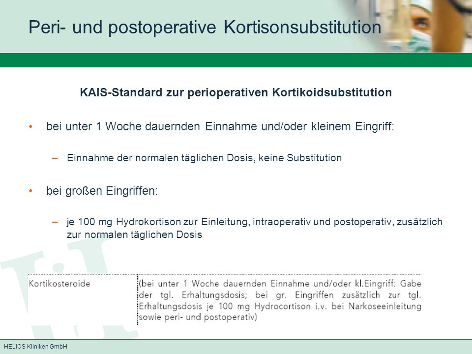 Peri- und postoperative Kortisonsubstitution