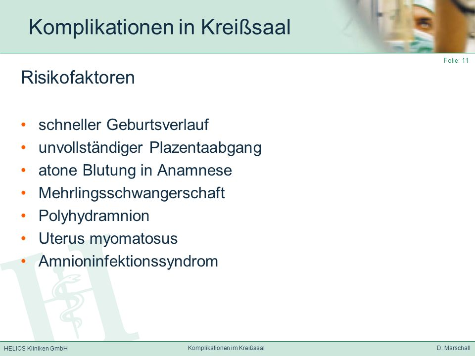 Komplikationen in Kreißsaal
