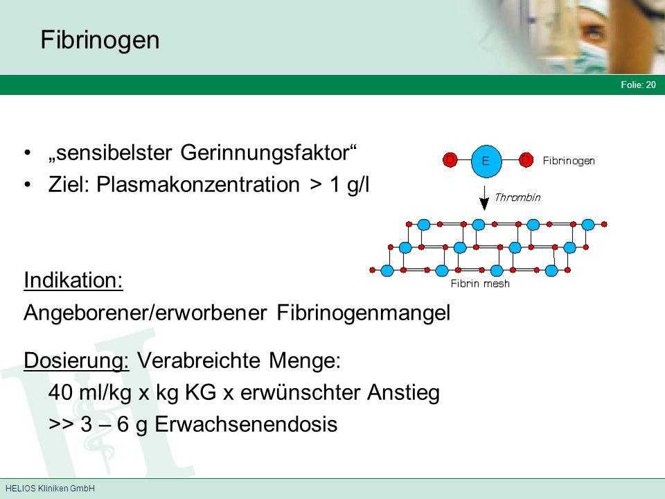 """Fibrinogen """"sensibelster Gerinnungsfaktor"""