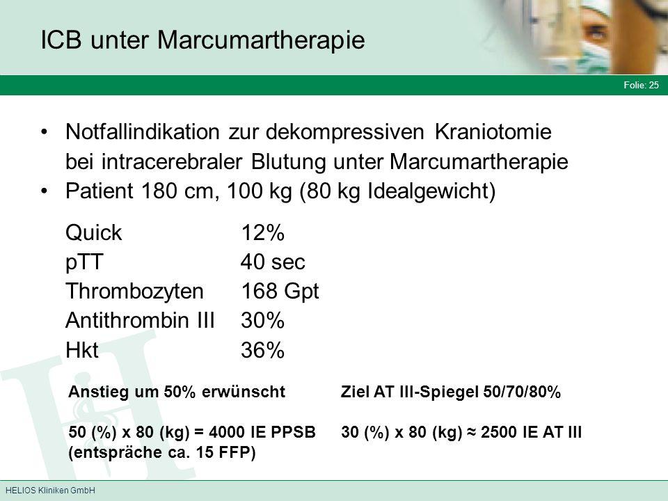 ICB unter Marcumartherapie