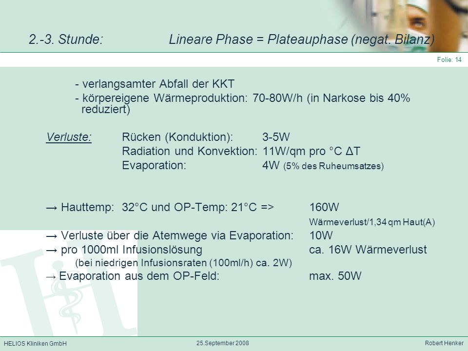 2.-3. Stunde: Lineare Phase = Plateauphase (negat. Bilanz)