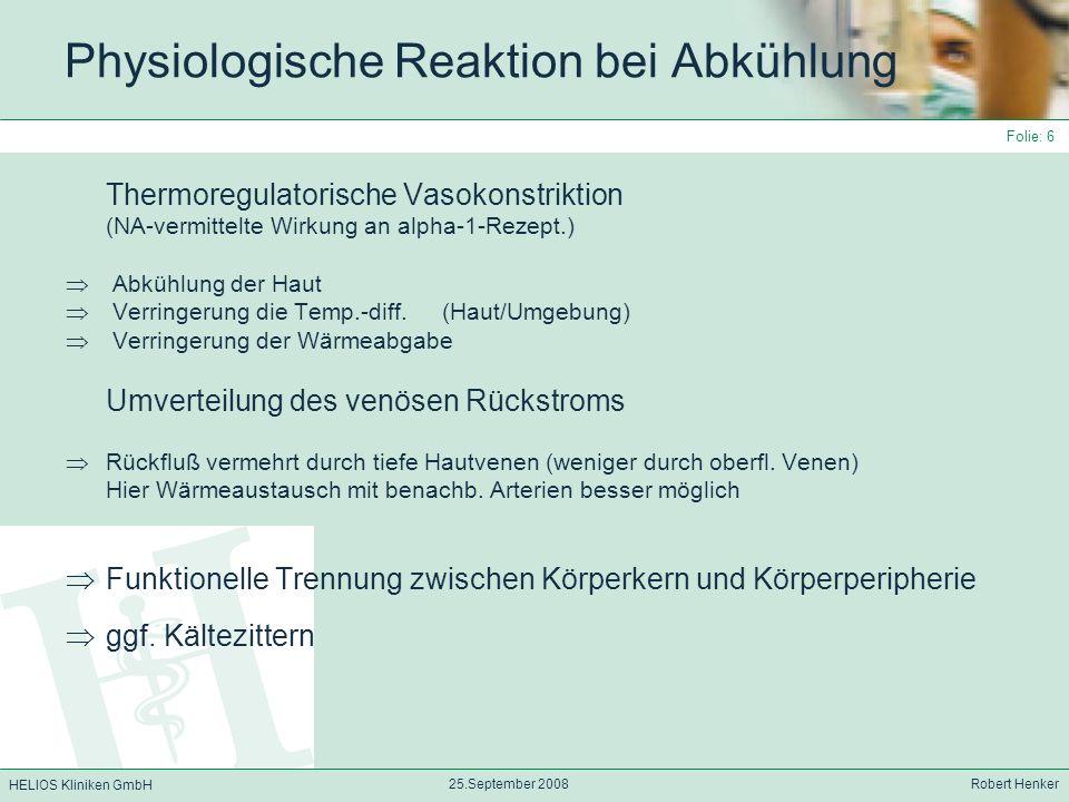 Physiologische Reaktion bei Abkühlung