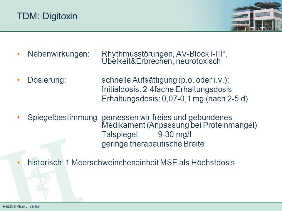 TDM: Digitoxin Nebenwirkungen: Rhythmusstörungen, AV-Block I-III°, Übelkeit&Erbrechen, neurotoxisch.