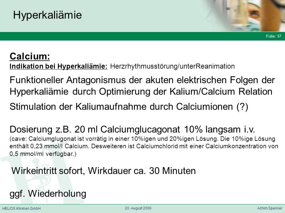 Hyperkaliämie Calcium: