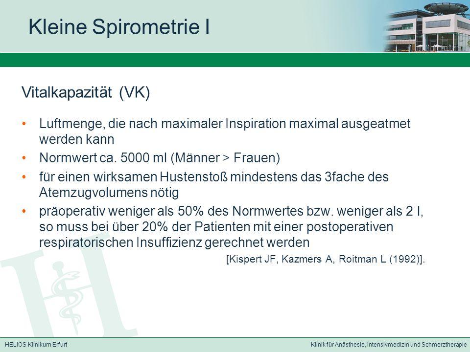 Kleine Spirometrie I Vitalkapazität (VK)