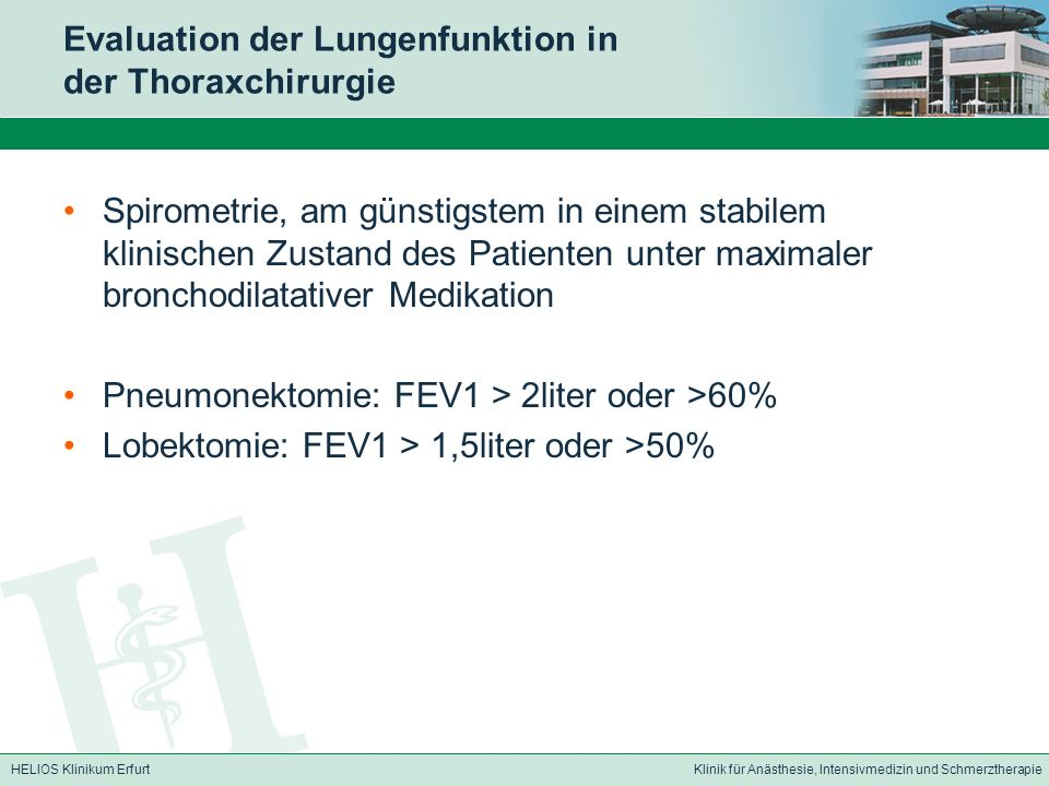 Evaluation der Lungenfunktion in der Thoraxchirurgie
