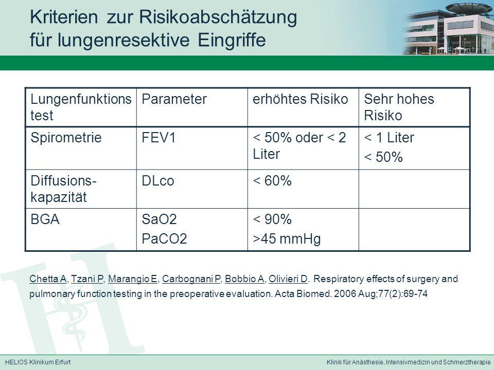 Kriterien zur Risikoabschätzung für lungenresektive Eingriffe
