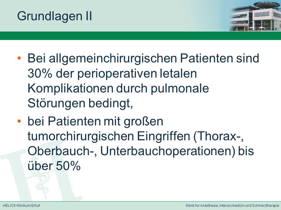 Grundlagen II Bei allgemeinchirurgischen Patienten sind 30% der perioperativen letalen Komplikationen durch pulmonale Störungen bedingt,
