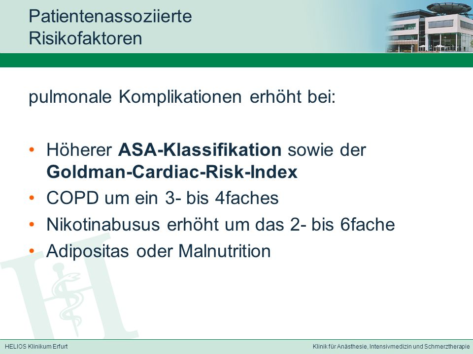 Patientenassoziierte Risikofaktoren