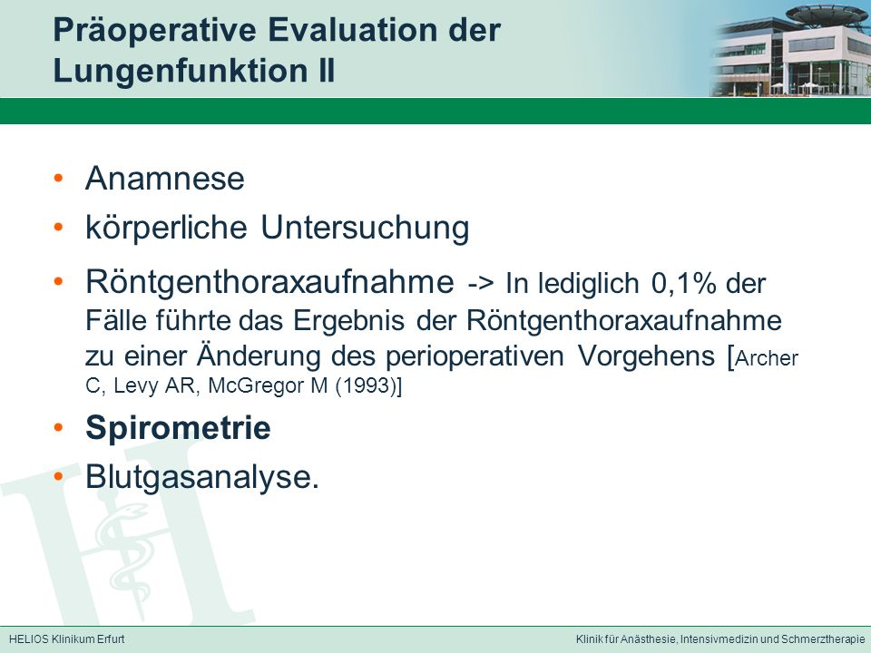 Präoperative Evaluation der Lungenfunktion II