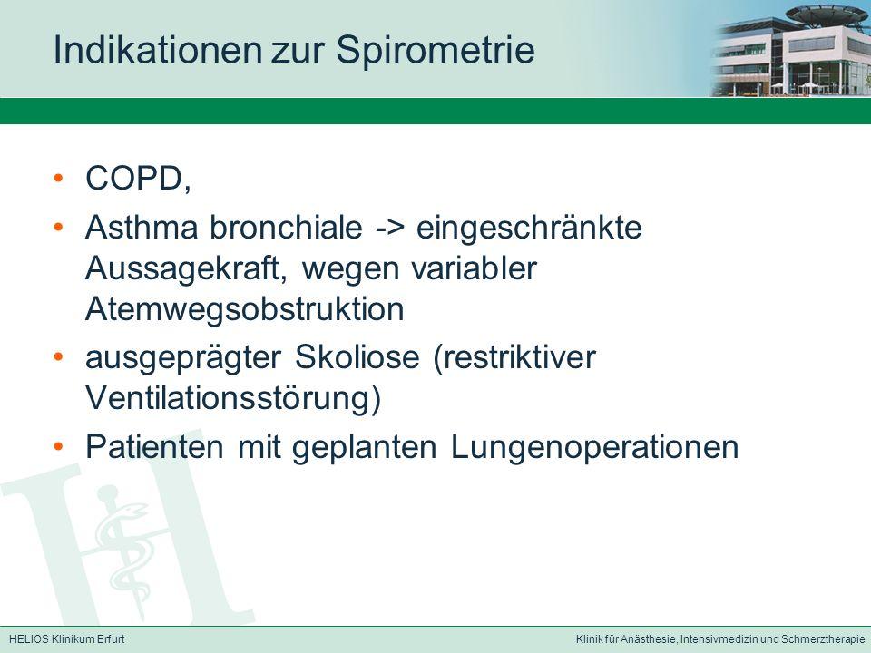 Indikationen zur Spirometrie