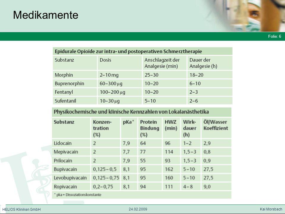 Medikamente Folie: 6 HELIOS Kliniken GmbH 24.02.2009 Kai Morsbach 6