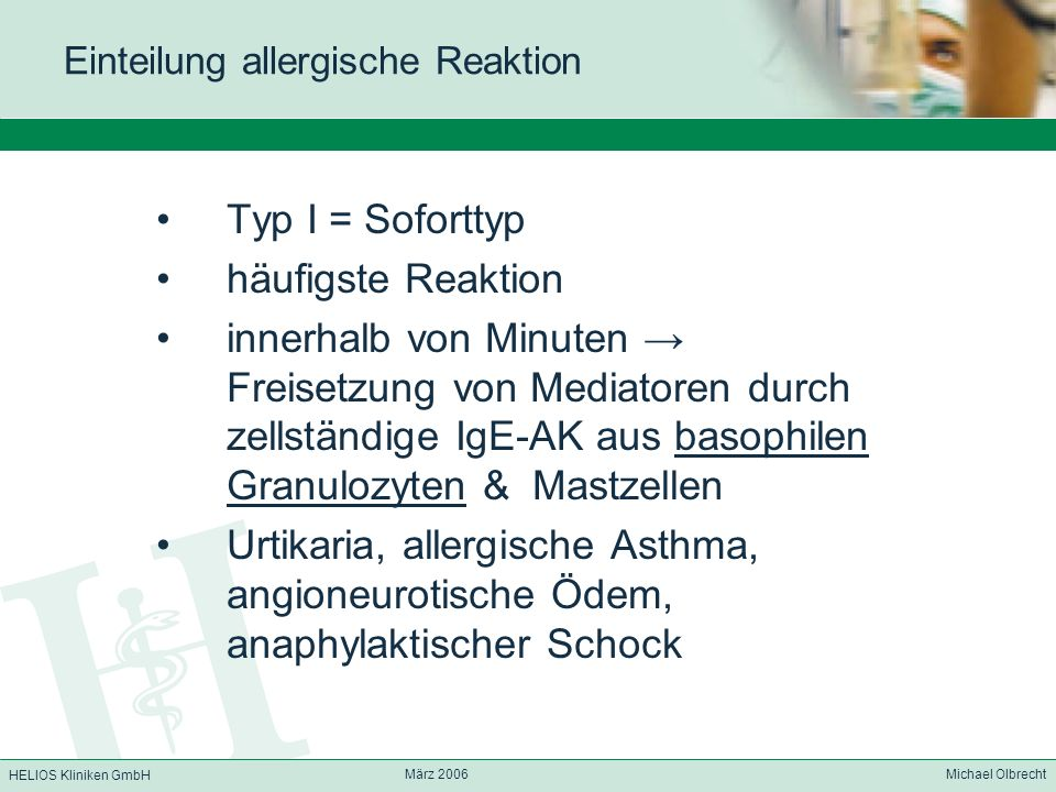 Einteilung allergische Reaktion