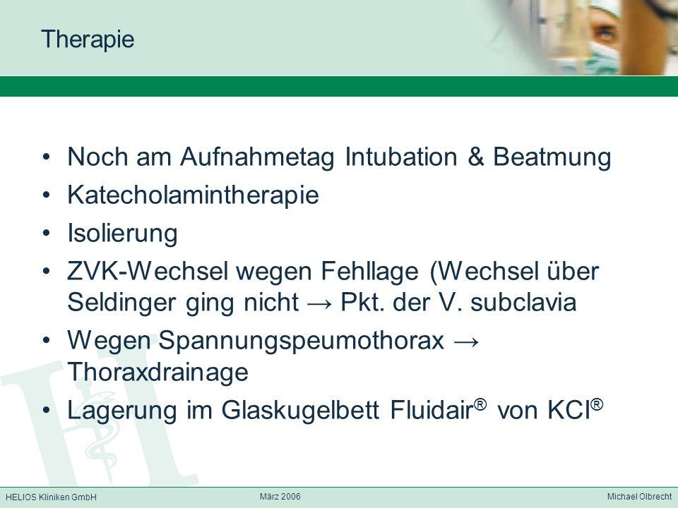 Noch am Aufnahmetag Intubation & Beatmung Katecholamintherapie