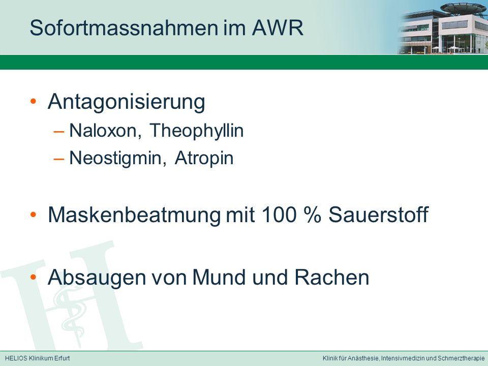 Sofortmassnahmen im AWR