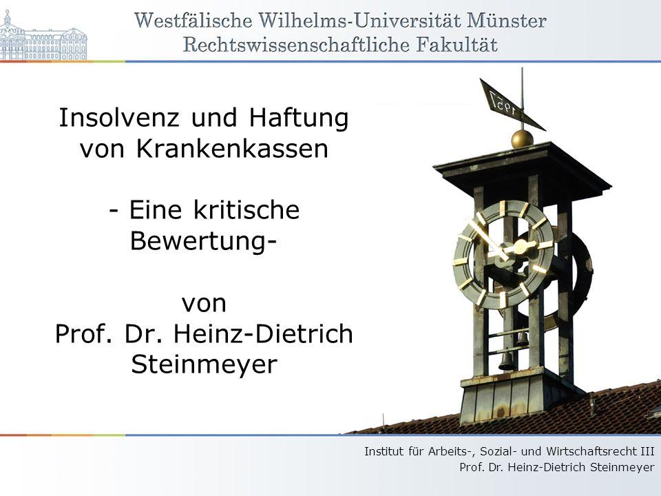 Insolvenz und Haftung von Krankenkassen - Eine kritische Bewertung- von Prof.