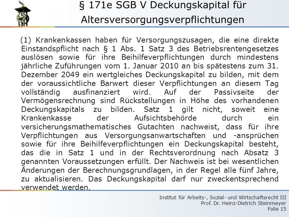 § 171e SGB V Deckungskapital für Altersversorgungsverpflichtungen