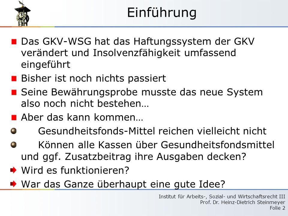 Einführung Das GKV-WSG hat das Haftungssystem der GKV verändert und Insolvenzfähigkeit umfassend eingeführt.