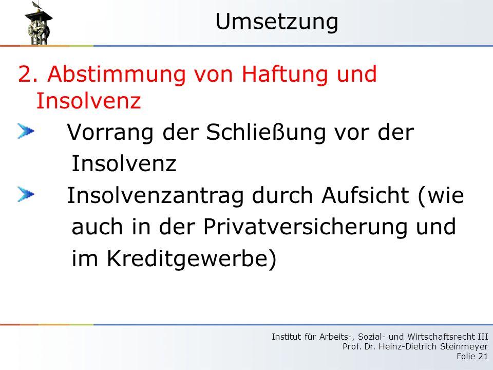 Umsetzung 2. Abstimmung von Haftung und Insolvenz. Vorrang der Schließung vor der. Insolvenz. Insolvenzantrag durch Aufsicht (wie.