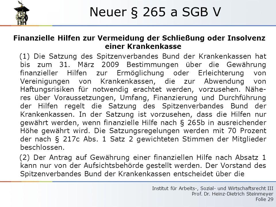 Neuer § 265 a SGB V