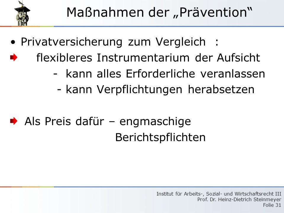 "Maßnahmen der ""Prävention"