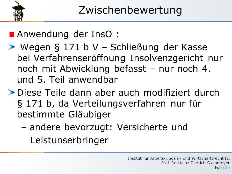 Zwischenbewertung Anwendung der InsO :