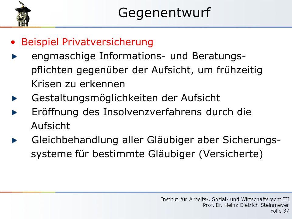 Gegenentwurf Beispiel Privatversicherung