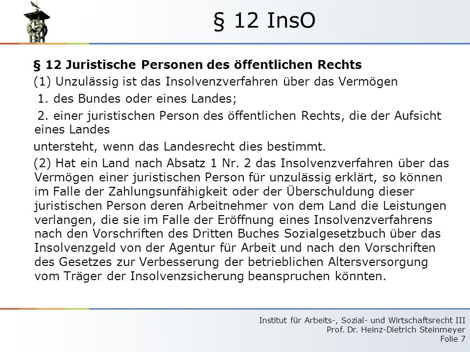 § 12 InsO