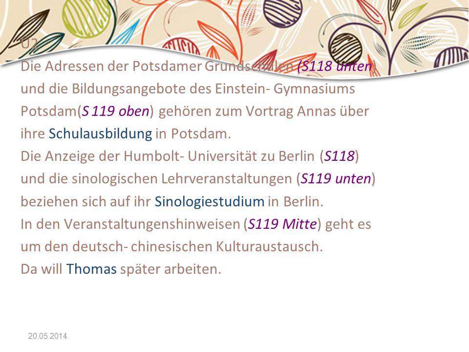 Die Adressen der Potsdamer Grundschulen (S118 unten)