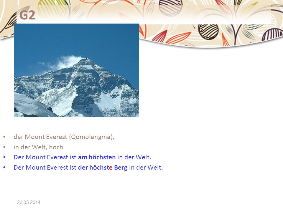 G2 der Mount Everest (Qomolangma), in der Welt, hoch