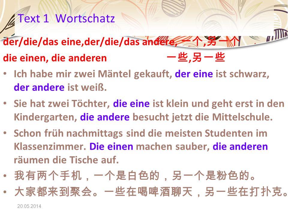 Text 1 Wortschatz der/die/das eine,der/die/das andere, 一个,另一个